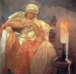 Woman with Burning Candle cross stitch pattern