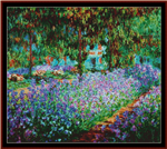 Artists Garden at Giverny, poster-size cross stitch pattern