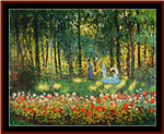 Artist's Family in the Garden cross stitch pattern