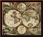 17th Century World Map cross stitch pattern